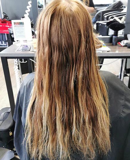 Ennen kuva hiustenpidennyksille