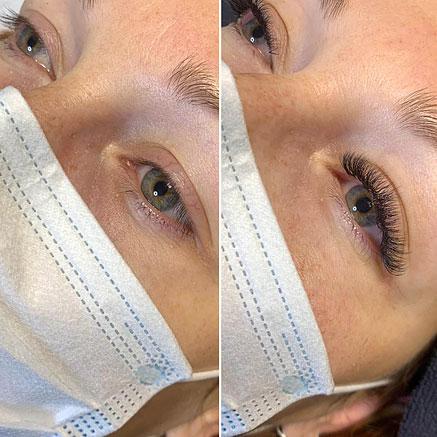 Ennen ja jälkeen -kuvat ripsienpidentämisestä