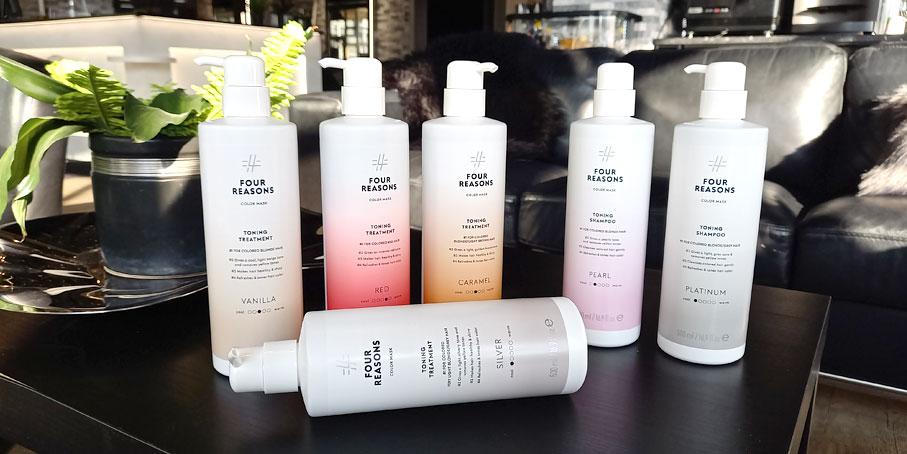 Four Reasons Color Mask -shampoita ja -hoitoaineita myös 500 ml koossa.