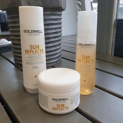 Goldwellin Sun Reflects -tuotteet ovat hyviä kesäksi, sillä niissä on UV-suoja.