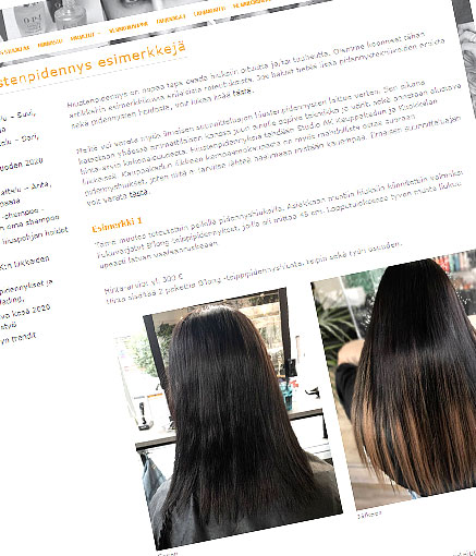 Blogissa esimerkkejä hiustenpidennyksistä