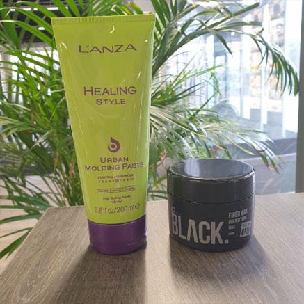 Hyviä tuotteita miehille ovat mm. Lanzan Healing Style Urban Molding Paste ja IdHairin Black -vaha