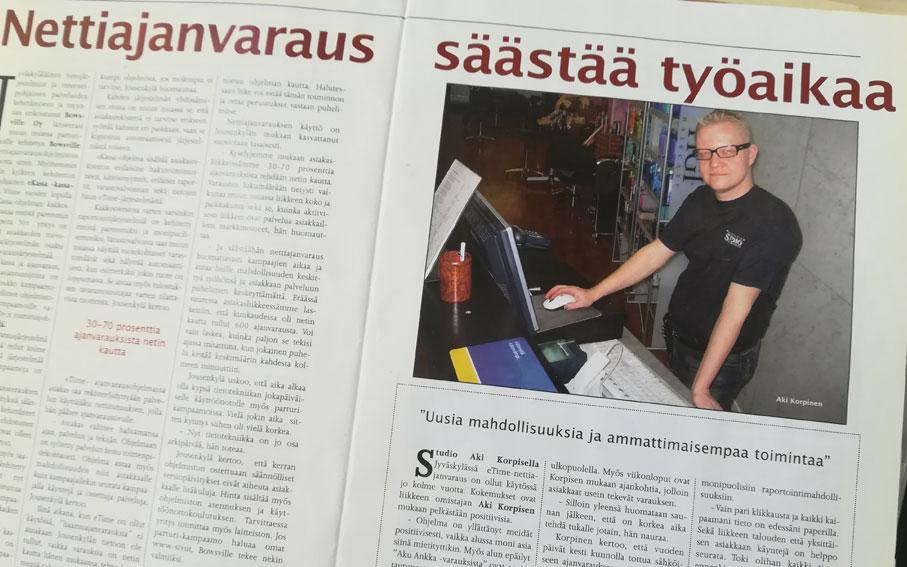 Nettiajanvarausjärjestelmä otettiin käyttöön vuonna 2003 ensimmäisenä parturi-kampaamona koko Suomessa