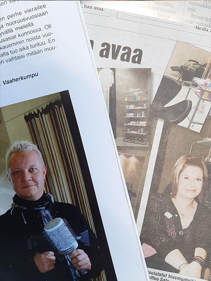 Studio AK:n osakkaat Aki ja Sirke n. 10 vuotta vanhoissa lehtileikkeissä