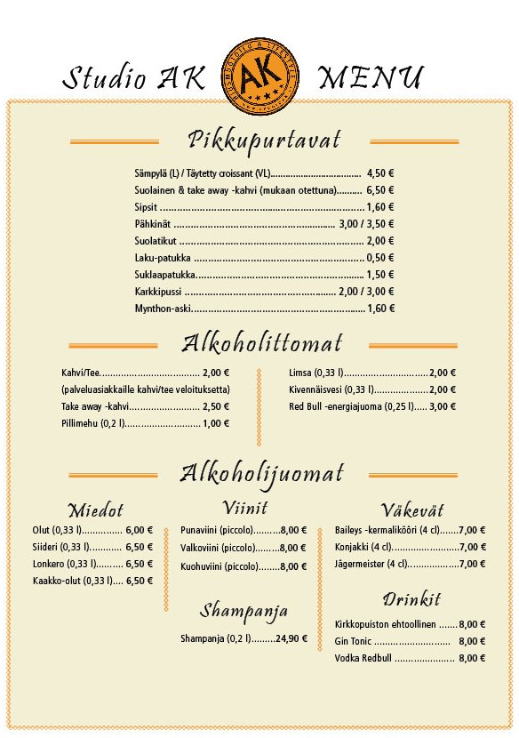 Studio AK:n menu sisältää pikkupurtavia sekä alkoholittomia ja alkoholijuomia.