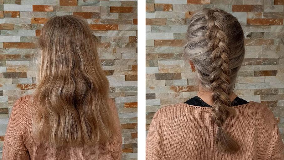 Hiukset ennen muuttumisleikkiä ja muuttumisleikin jälkeen.