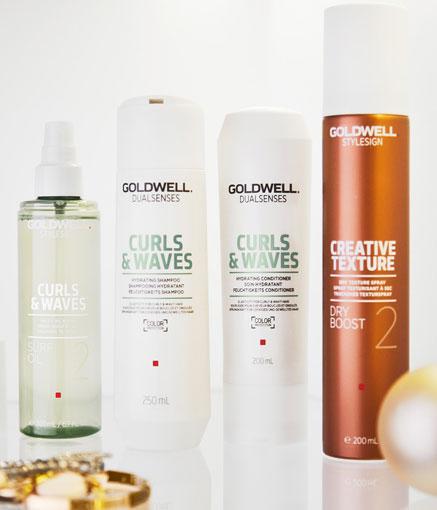 Esimerkiksi nämä Goldwellin tuotteet sopivat Nuwave-lainekäsitellyille hiuksille.
