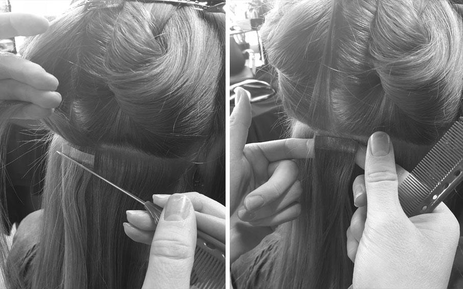 Jyväskylässä Studio AK:lla saat laitatettua itsellesi hiustenpidennykset, kuten teippipidennykset.