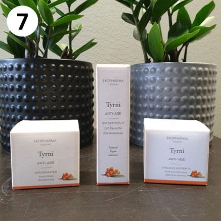 Tuotekassi ikääntyvälle iholle sisältää Ekopharman tuotteita