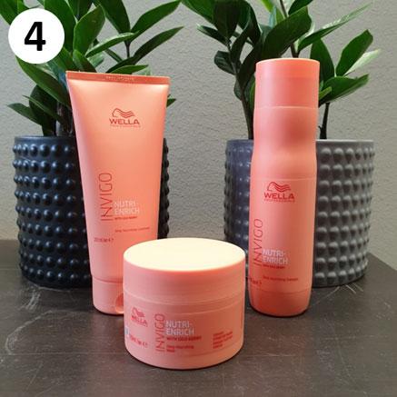 Tuotekassi kosteutta tarvitseville hiuksille sisältää Wellan tuotteita