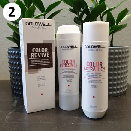 Tuotekassi ruskeille hiuksille sisältää Goldwellin tuotteita