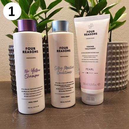 Tuotekassi vaaleille hiuksille sisältää Four Reasonsin tuotteita