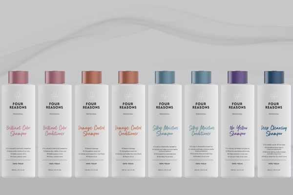 Four Reasonsilla on laaja valikoima shampoita ja hoitoaineita